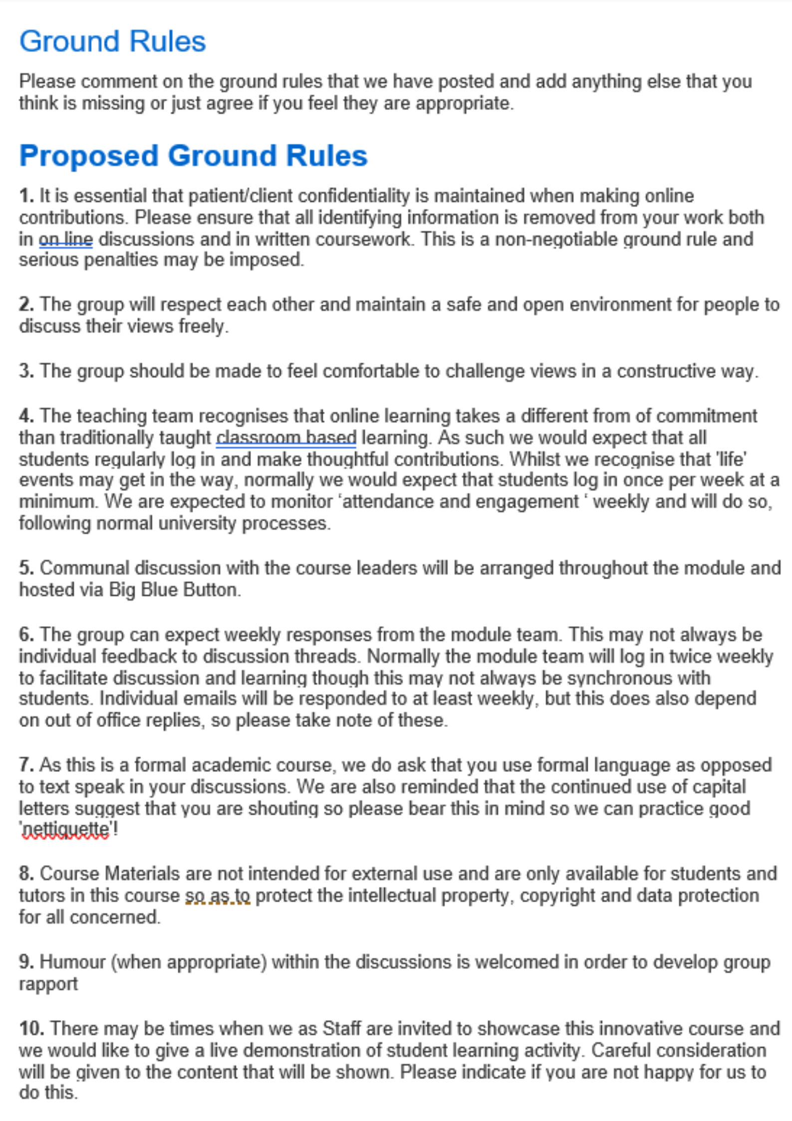ground rules for online discussion